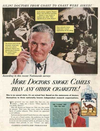 Camels, Cigarettes Smoking Medical, USA (1946)