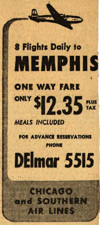 Chicago and Southern Air Line's Memphis – 8 Flights Daily to Memphis (1946)