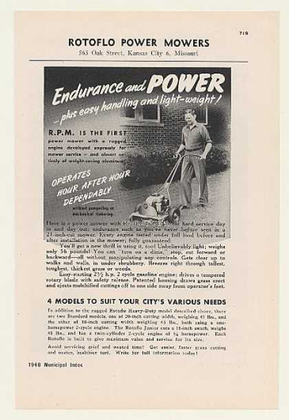 Rotoflo Heavy-Duty RPM Power Lawn Mower (1948)