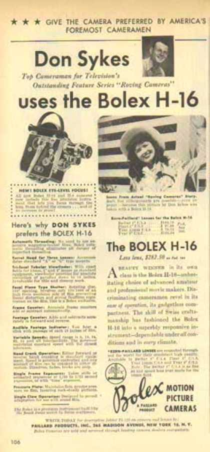 Bolex H16 Camera – Don Sykes Top Cameraman for TV (1949)