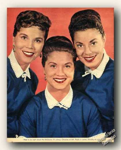 Mcguire Sisters Picture Magazine Print Feature (1954)