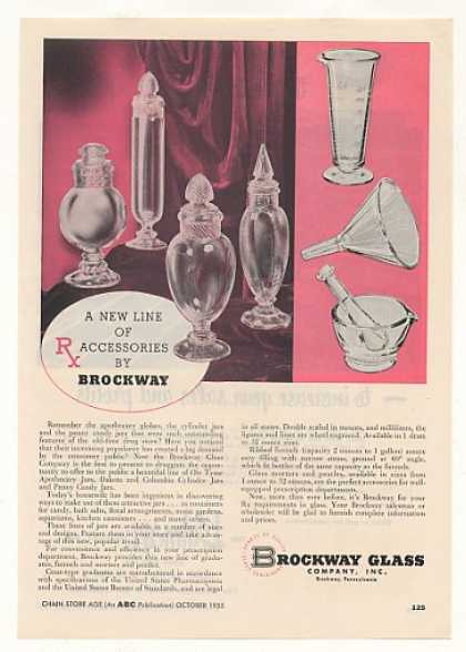 Brockway Glass Ole Tyme Apothecary Jars Trade (1955)