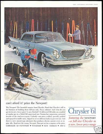 Chrysler Newport 4 Dr Car Snow Ski Skiers (1961)
