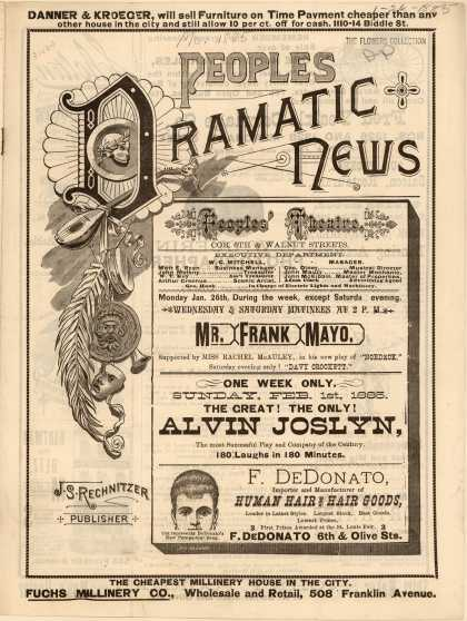 People's Theater's misc. ads – Peoples Dramatic News (1885)