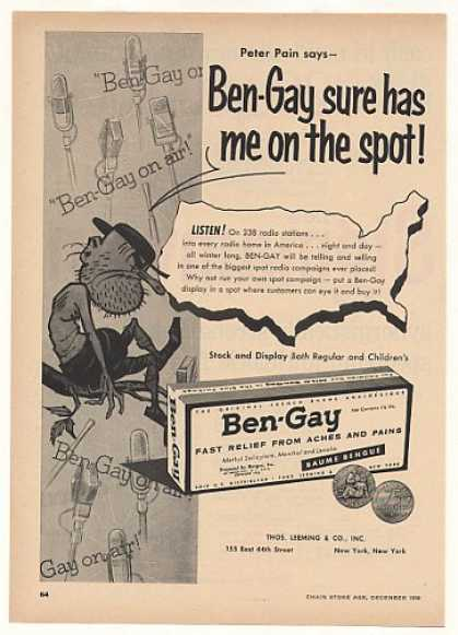 Peter Pain Ben-Gay Radio Station Spots Trade (1956)
