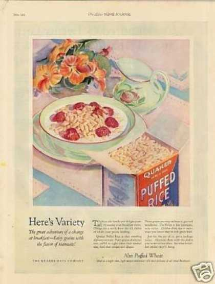 Quaker Puffed Rice Cereal Color (1925)