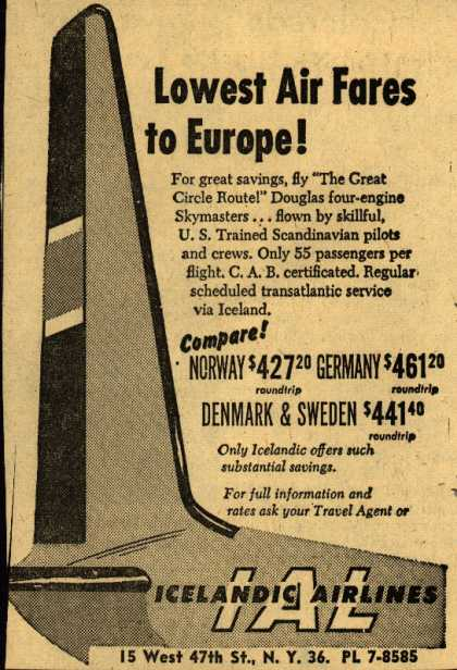 Icelandic Airline's Europe – Lowest Air Fares to Europe (1954)