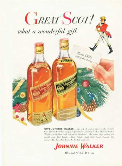 Johnnie Walker Scotch Whiskey Bottle (1955)