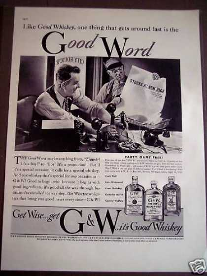 Original G & W Is Good Whiskey (1938)