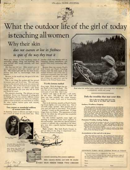 Pond's Extract Co.'s Pond's Cold Cream and Vanishing Cream – What the outdoor life of the girl of today is teaching all women (1923)