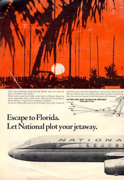 National Airlines Florida Sunset Scene (1964)