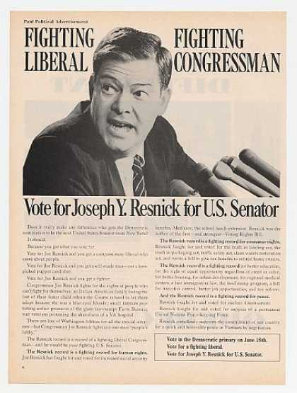 Vote Joseph Y Resnick for US Senator (1968)