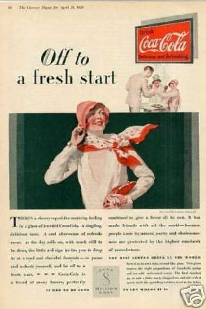 Coca-cola Color Ad &quot;Off To a Fresh Start... (1929)