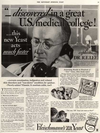 "Standard Brand's Fleischmann's XR Yeast – ""_discovered in a great U.S. medical college! ...this new Yeast acts much faster"" (1934)"