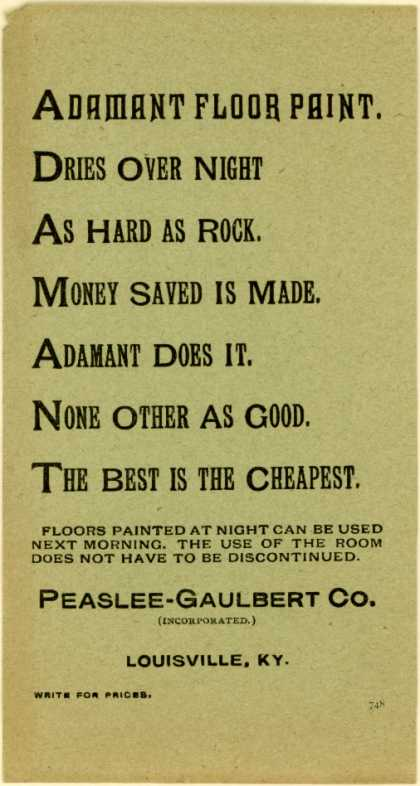 Peaslee-Gaulbert Co.'s paint (floor) – Adamant Floor Paint.
