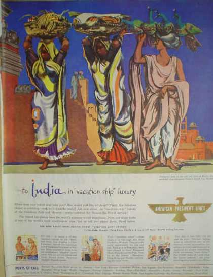 American President Lines Cruise Ship India Theme (1947)