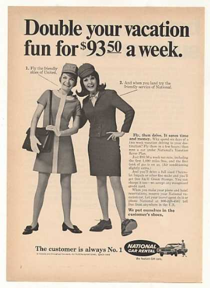 United Airlines Stewardess National Car Girl (1969)