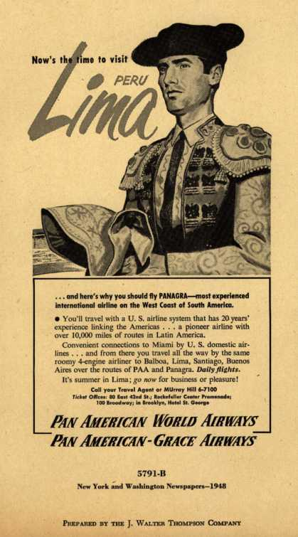 Pan American World Airways, Pan American-Grace Airway's Lima, Peru – Now's the time to visit Lima, Peru (1948)