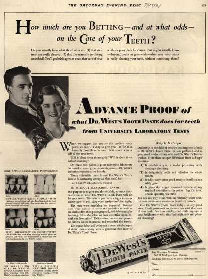 Western Company's Dr. West's Tooth Paste – How much are you Betting – and at what odds – on the Care of your Teeth? (1931)
