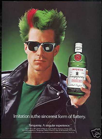 Tanqueray Gin Bottle Flattery Green Hair Photo (1989)