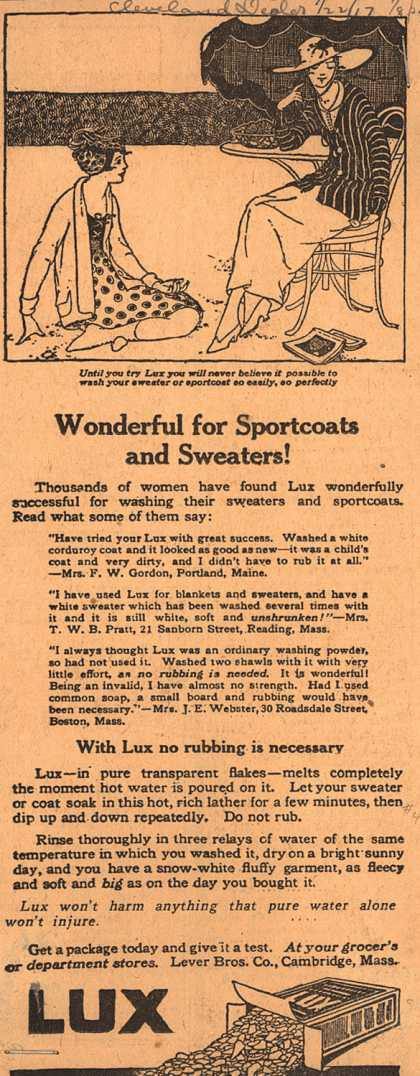 Lever Bros.'s Lux (laundry flakes) – Wonderful for Sportcoats and Sweaters (1917)