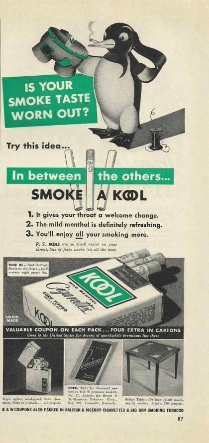 Kool Cigarettes With Penquin (1939)