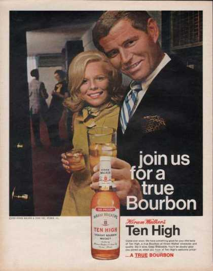 Hiram Walkers Ten High True Bourbon Print (1970)