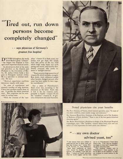 "Standard Brand's Fleischmann's Yeast – ""Tired out, run down persons become completely changed"" (1930)"