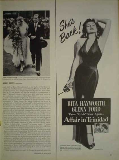 Movie Affair in Trinidad Rita Hayworth Glenn Ford HALF PAGE (1952)