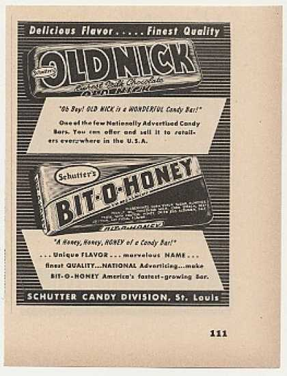 Schutter Old Nick Bit-O-Honey Candy Bars Trade (1949)
