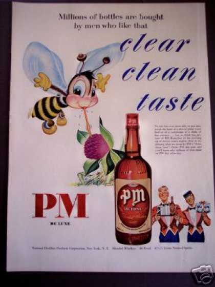 Bee and Clover Flower Art Pm De Luxe Whisky (1950)