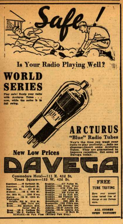 Arcturu's Radio Tubes – Safe! Is your radio playing well? (1931)
