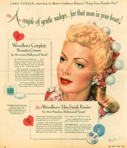 "Woodbury's Film-Finish Powder – Lana Turner, starring in Metro-Goldwyn-Mayer's ""Keep Your Powder Dry"" (1945)"