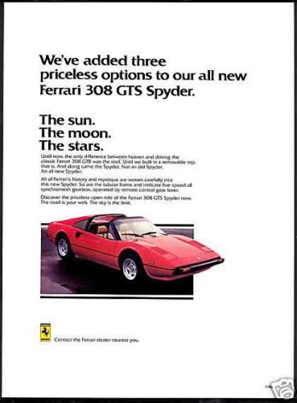Red Ferrari 308 GTS Spyder Removable Top Car (1978)
