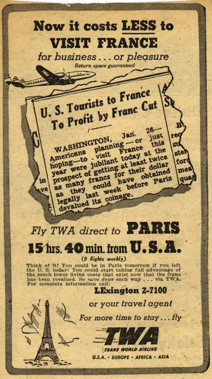 Trans World Airline's Paris – Now it costs Less to Visit France (1948)