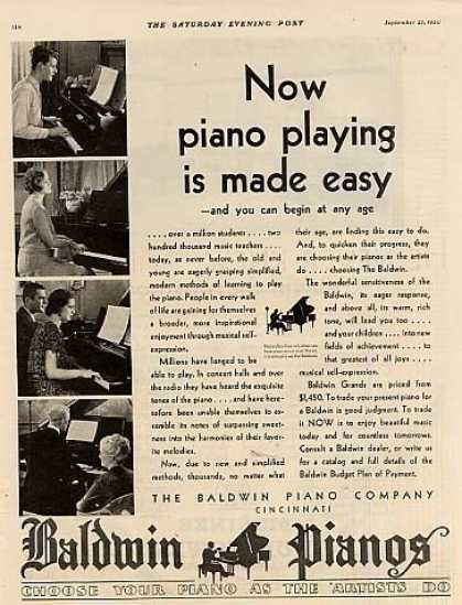"Baldwin Piano Ad ""Now Piano Playing... (1930)"