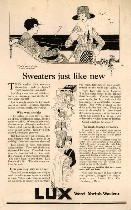 Lever Bros.'s Lux (laundry flakes) – Sweaters just like new (1918)