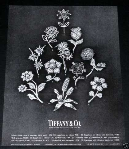 Old , Tiffany, Flower Pins, Gold (1964)
