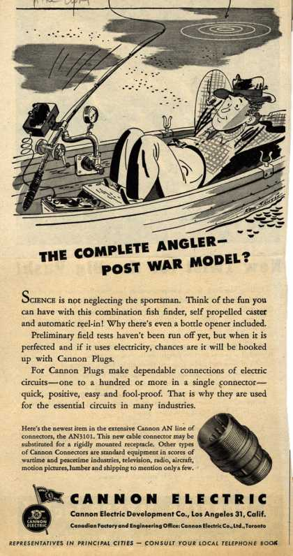 Cannon Electric Development Company's AN3101 cable connector – The Complete Angler- Post War Model? (1944)