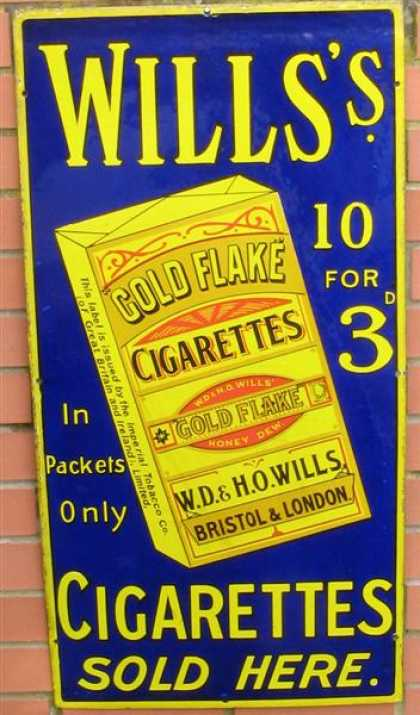 Will's Gold Flake Cigarettes 10 for 3d