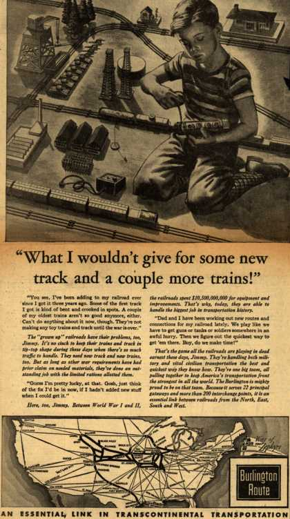 "Burlington Route's role in WWII – ""What I wouldn't give for some new track and a couple more trains!"" (1944)"