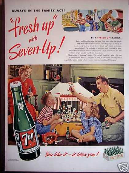 Family Plays Circus Photo 7up Soda 7 Up (1949)
