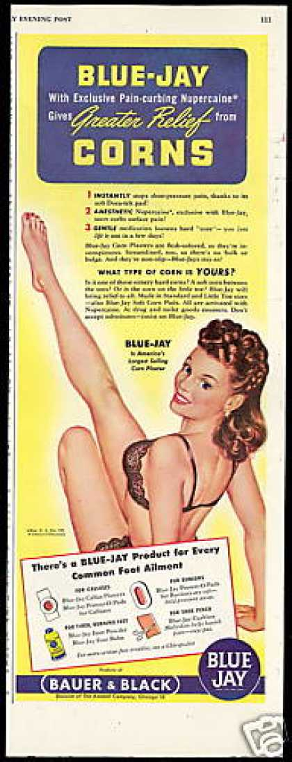 Blue Jay Corn Pads Woman Lingerie Pin up Girl (1946)