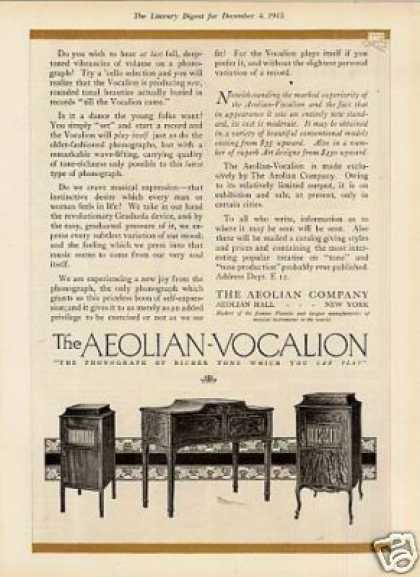 Aeolian Vocalion Phonographs Color Ad 2 Page (1915)