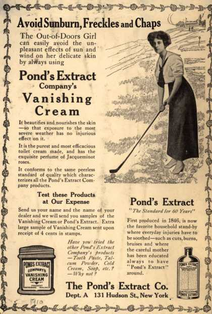 Pond's Extract Co.'s Pond's Vanishing Cream and Extract – Avoid Sunburn, Freckles and Chaps (1910)