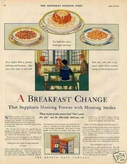 Quaker Puffed Rice & Wheat Cereal Color (1927)