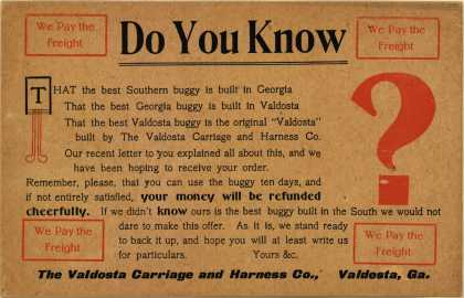 Valdosta Carriage and Harness Co.'s carriages – Do You Know?