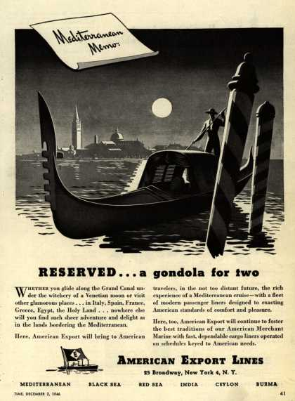 American Export Line's Mediterranean – RESERVED...a gondola for two (1946)