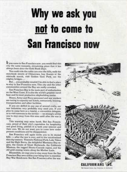 Do Not Come To San Francisco Now Wwii (1944)