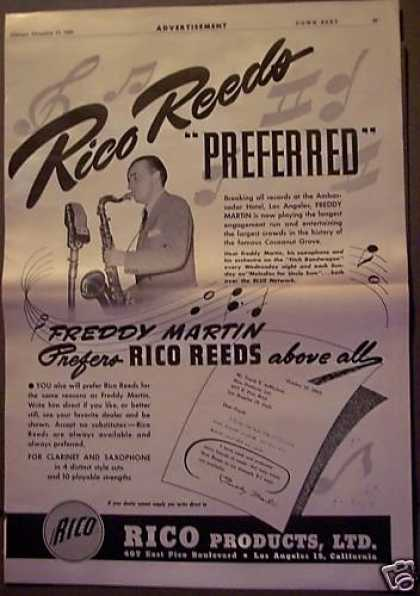 Freddy Martin Plays Sax Rico Reeds Music (1943)
